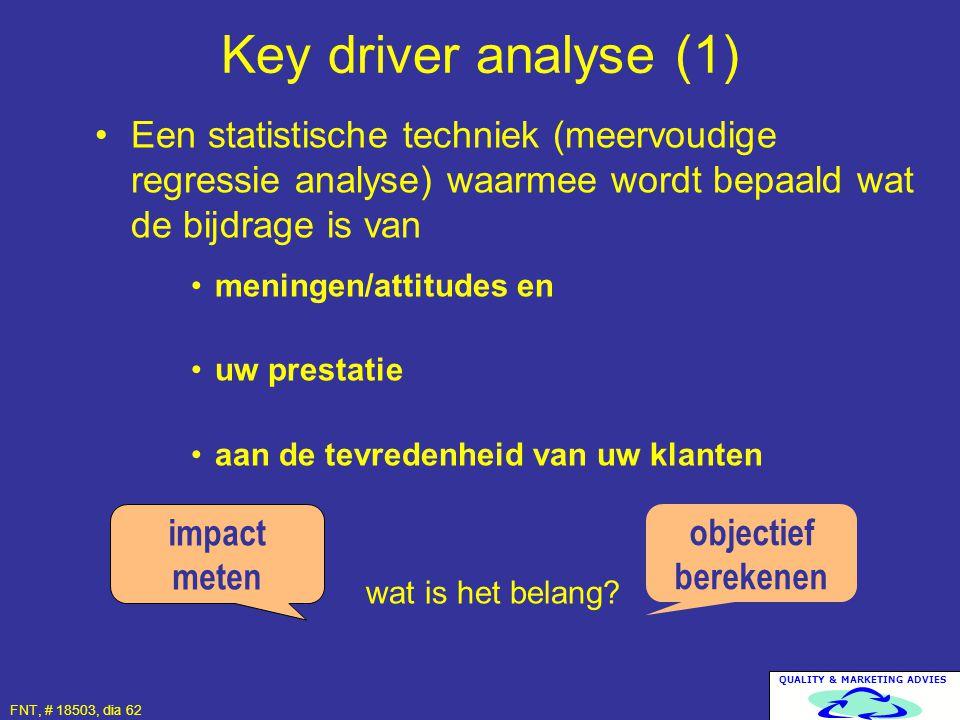 Key driver analyse (1) Een statistische techniek (meervoudige regressie analyse) waarmee wordt bepaald wat de bijdrage is van.