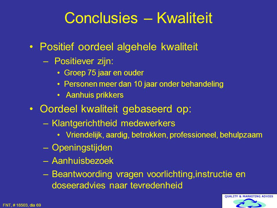Conclusies – Kwaliteit