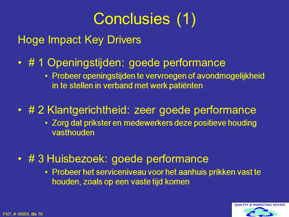 Conclusies (1) Hoge Impact Key Drivers