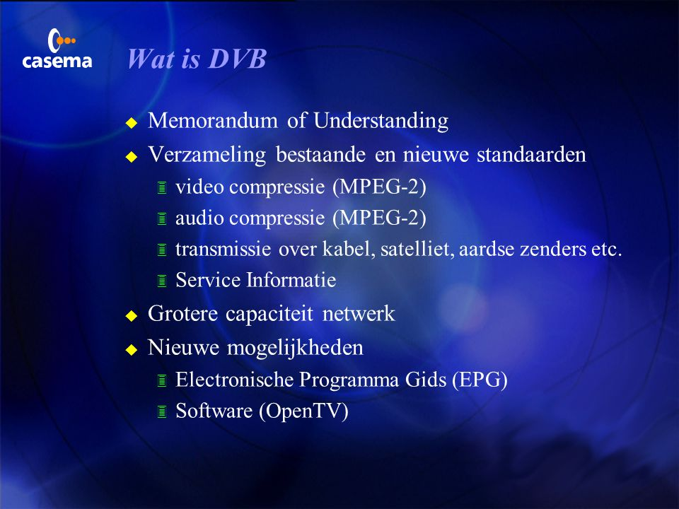 Wat is DVB Memorandum of Understanding