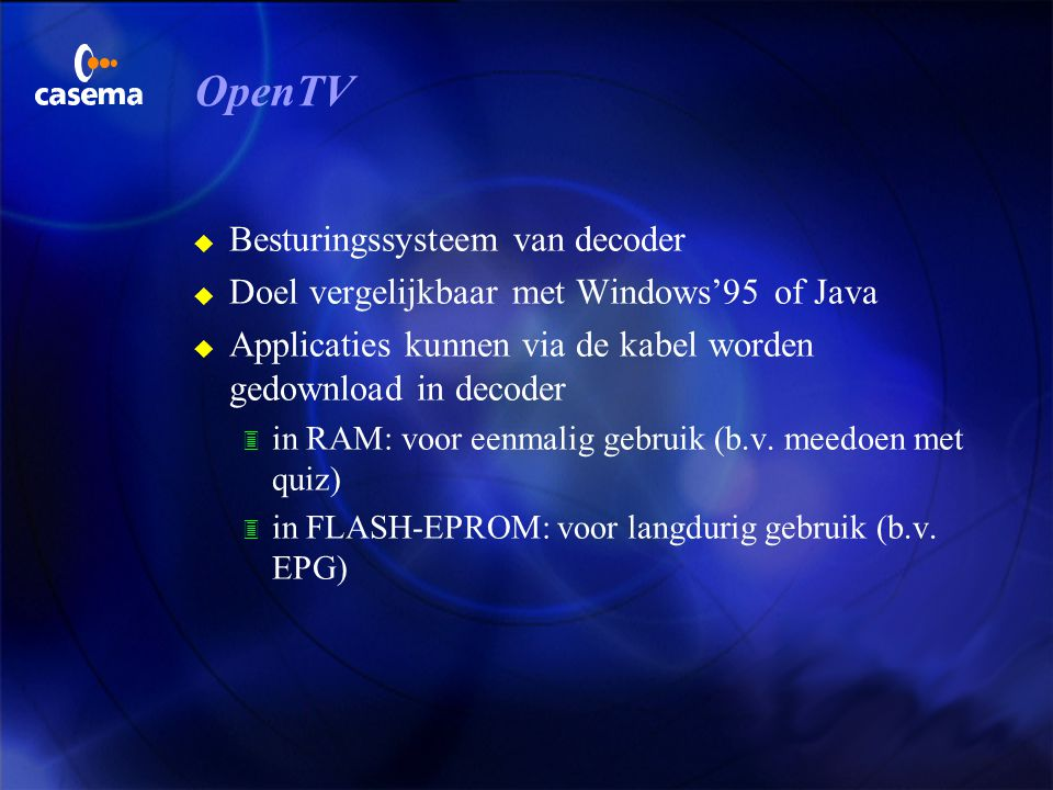 OpenTV Besturingssysteem van decoder