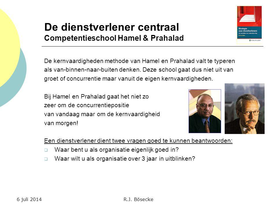 De dienstverlener centraal Competentieschool Hamel & Prahalad