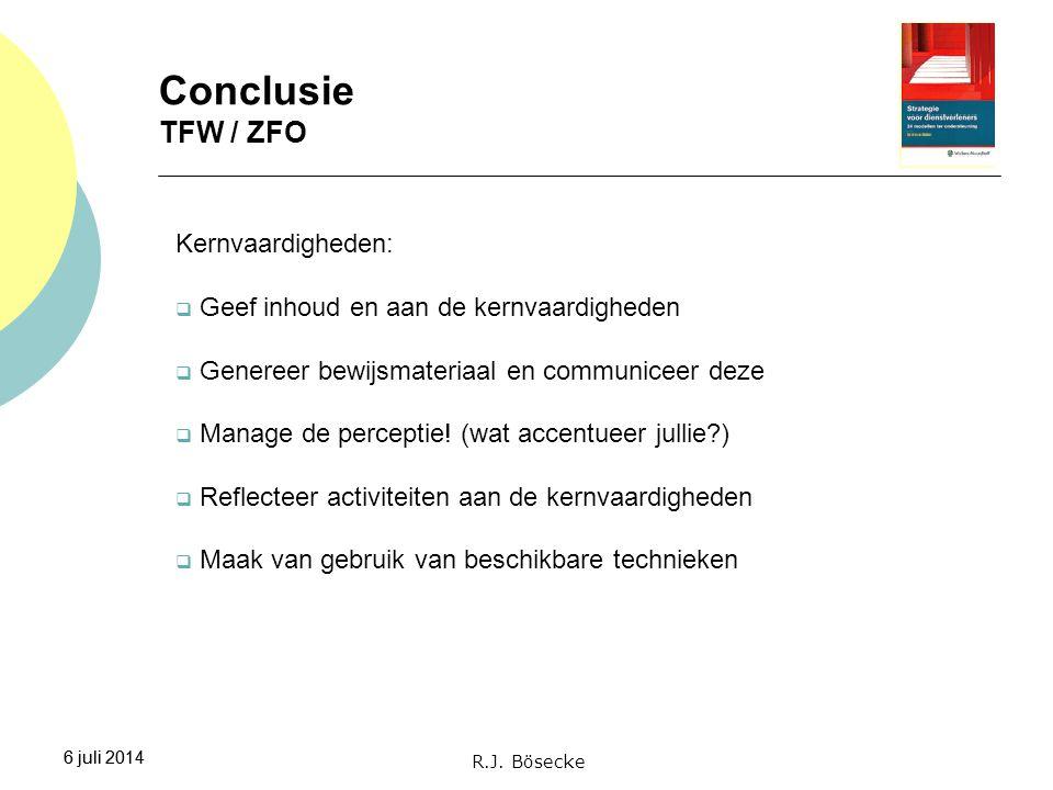 Conclusie TFW / ZFO Kernvaardigheden: