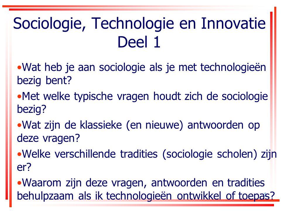 Sociologie, Technologie en Innovatie Deel 1