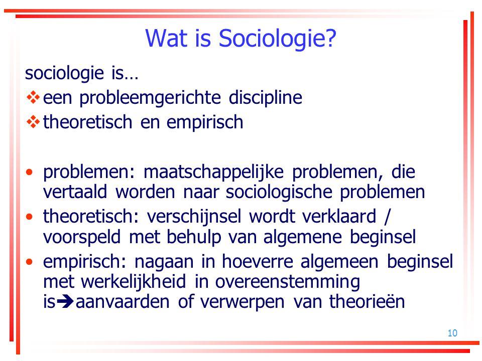 Wat is Sociologie sociologie is… een probleemgerichte discipline