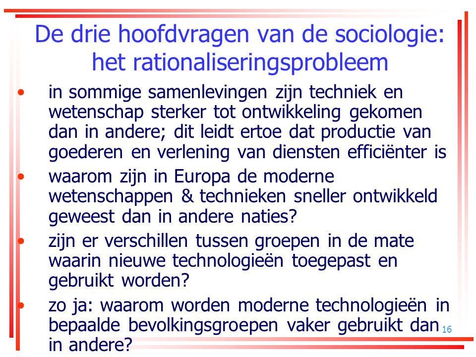 De drie hoofdvragen van de sociologie: het rationaliseringsprobleem