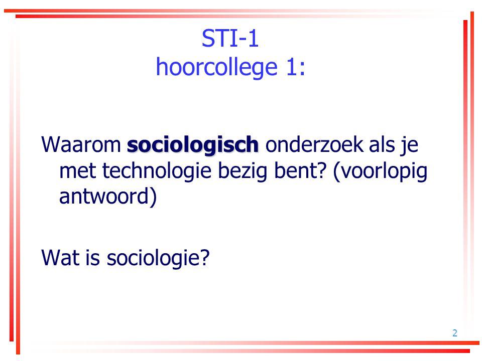STI-1 hoorcollege 1: Waarom sociologisch onderzoek als je met technologie bezig bent (voorlopig antwoord)