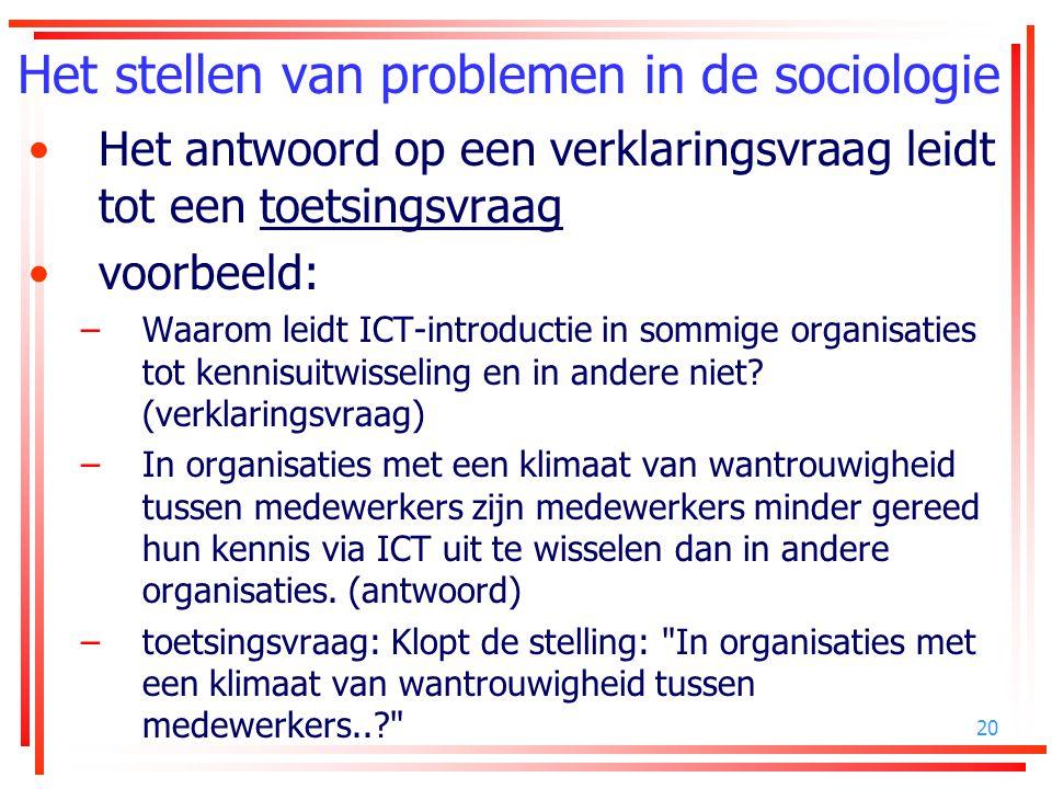 Het stellen van problemen in de sociologie