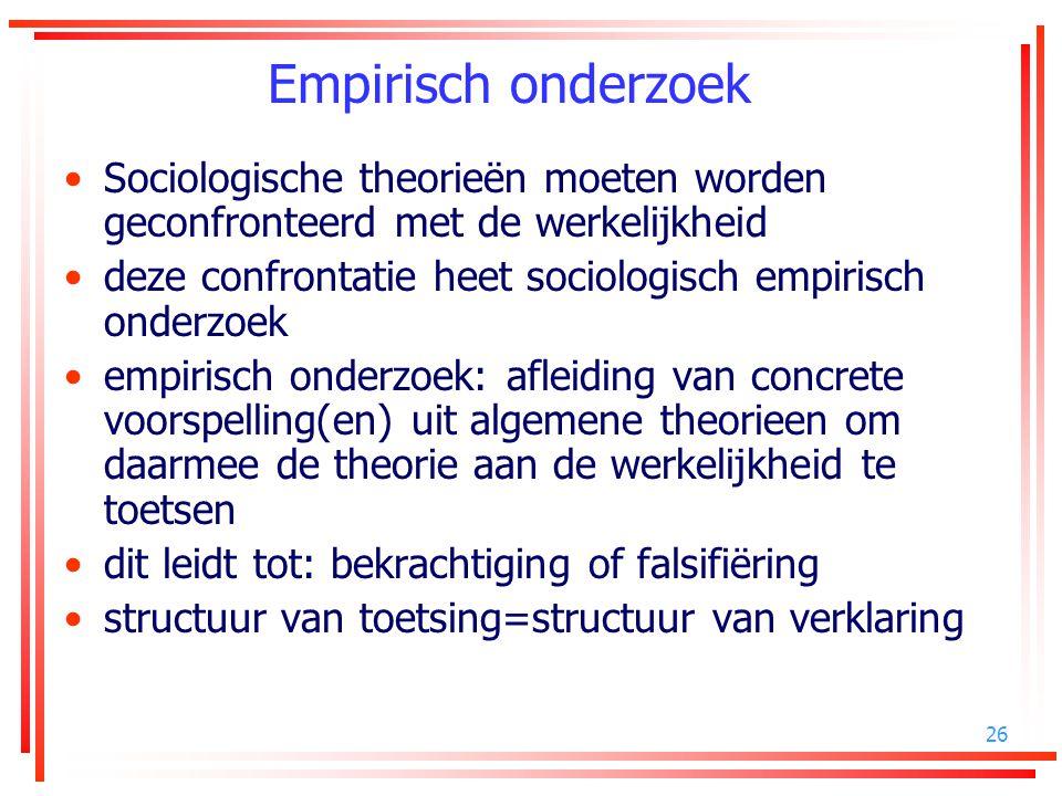 Empirisch onderzoek Sociologische theorieën moeten worden geconfronteerd met de werkelijkheid.