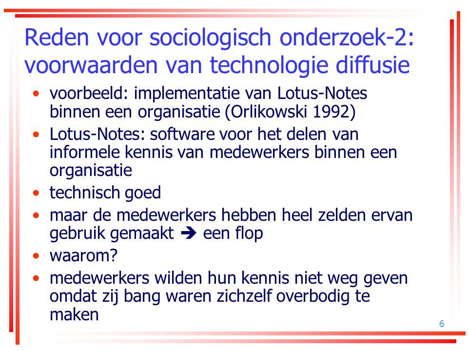 Reden voor sociologisch onderzoek-2: voorwaarden van technologie diffusie