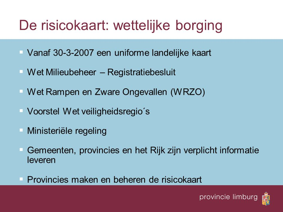 De risicokaart: wettelijke borging