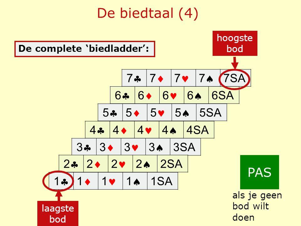 De biedtaal (4) PAS 7 7 7 7 7SA 6 6 6 6 6SA 5 5 5 5 5SA 4