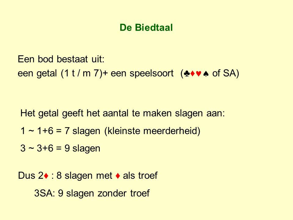 De Biedtaal Een bod bestaat uit: een getal (1 t / m 7)+ een speelsoort (♣♦ of SA) Het getal geeft het aantal te maken slagen aan: