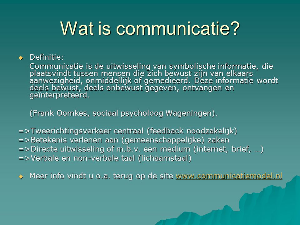 Wat is communicatie Definitie: