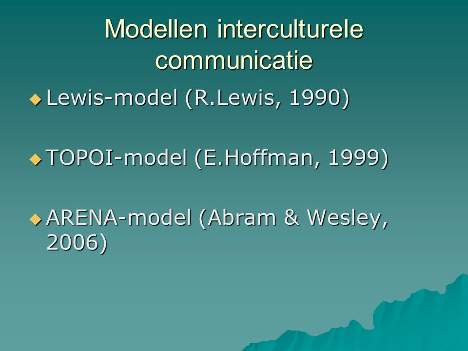 Modellen interculturele communicatie