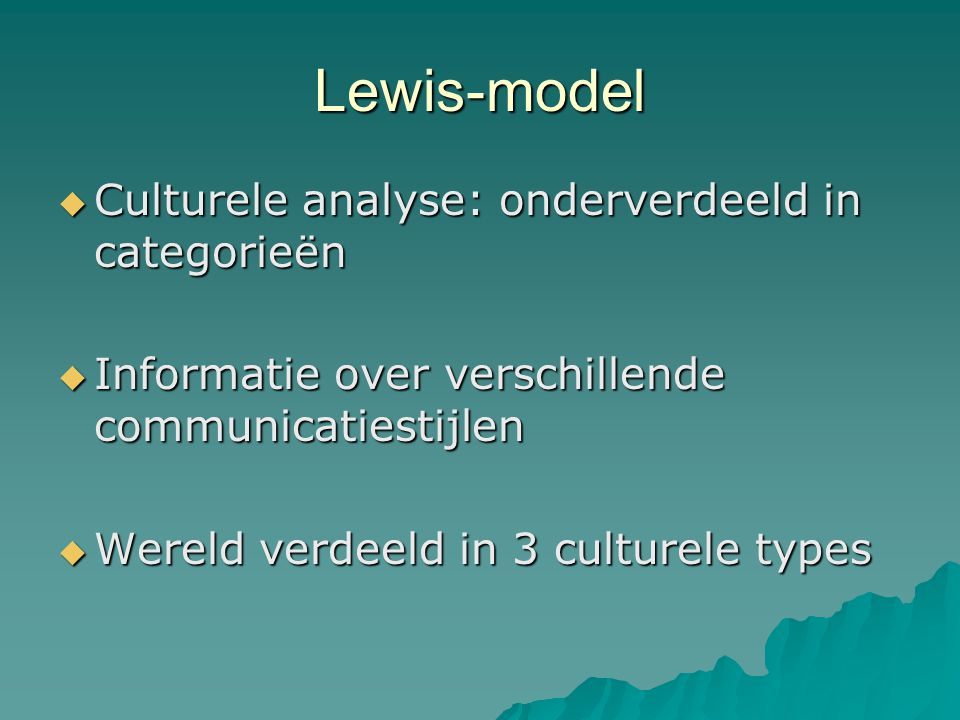 Lewis-model Culturele analyse: onderverdeeld in categorieën