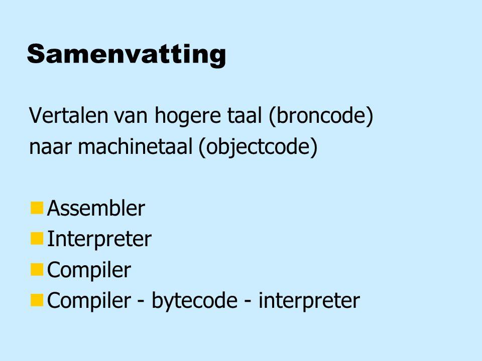 Samenvatting Vertalen van hogere taal (broncode)
