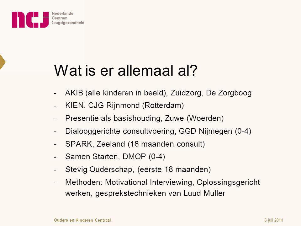 Wat is er allemaal al AKIB (alle kinderen in beeld), Zuidzorg, De Zorgboog. KIEN, CJG Rijnmond (Rotterdam)