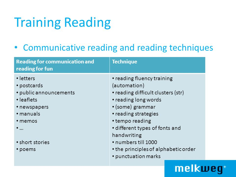 Training Reading Communicative reading and reading techniques