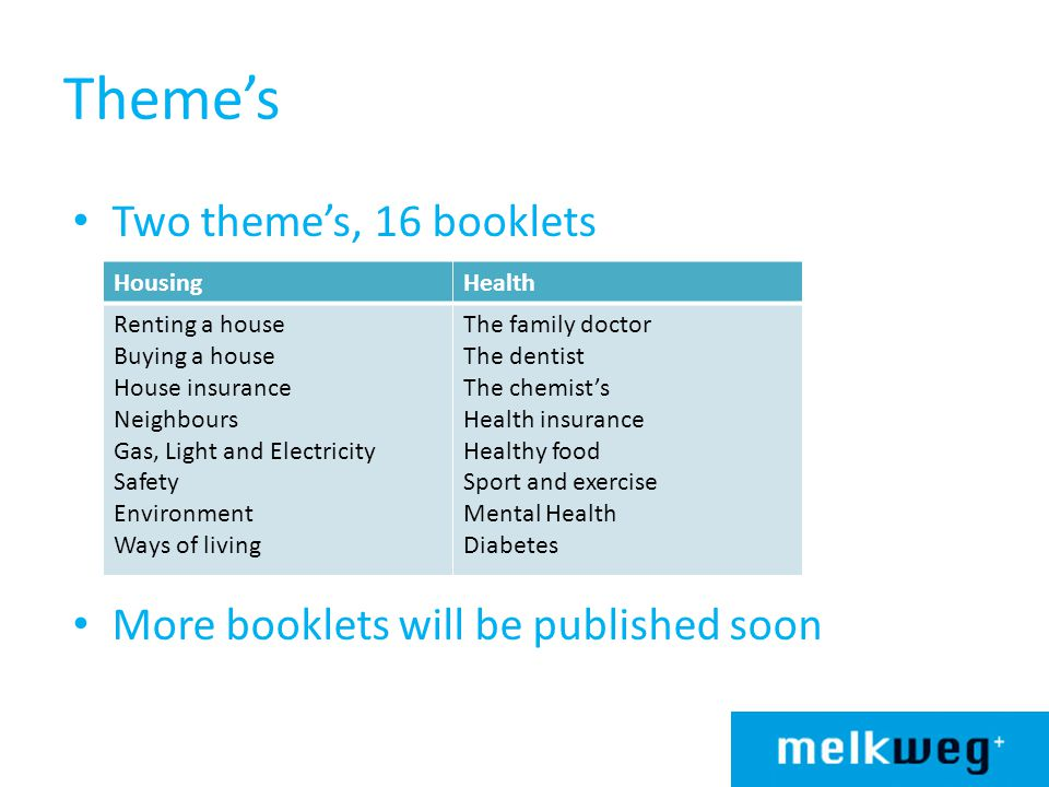 Theme's Two theme's, 16 booklets More booklets will be published soon