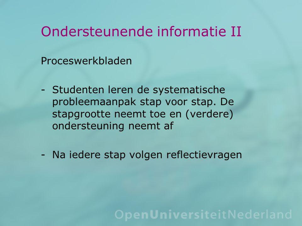Ondersteunende informatie II