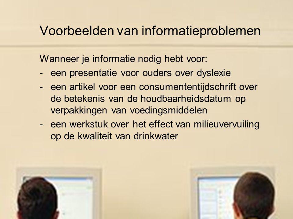 Voorbeelden van informatieproblemen
