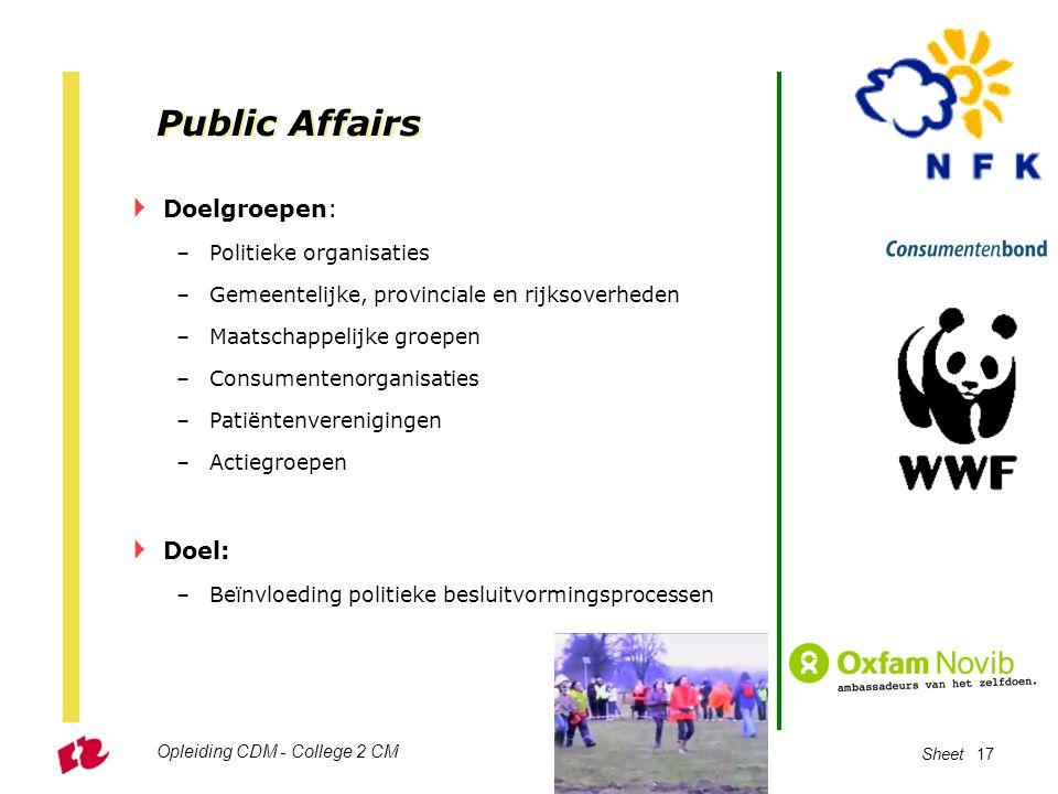 Public Affairs Doelgroepen: Doel: Politieke organisaties