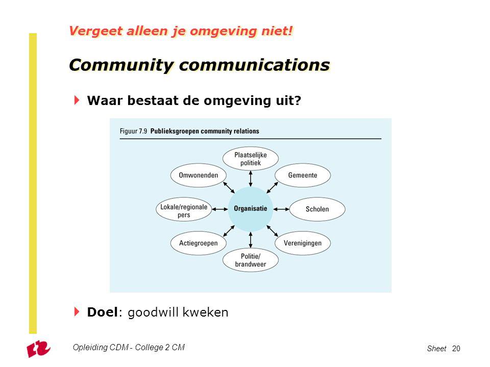 Vergeet alleen je omgeving niet! Community communications
