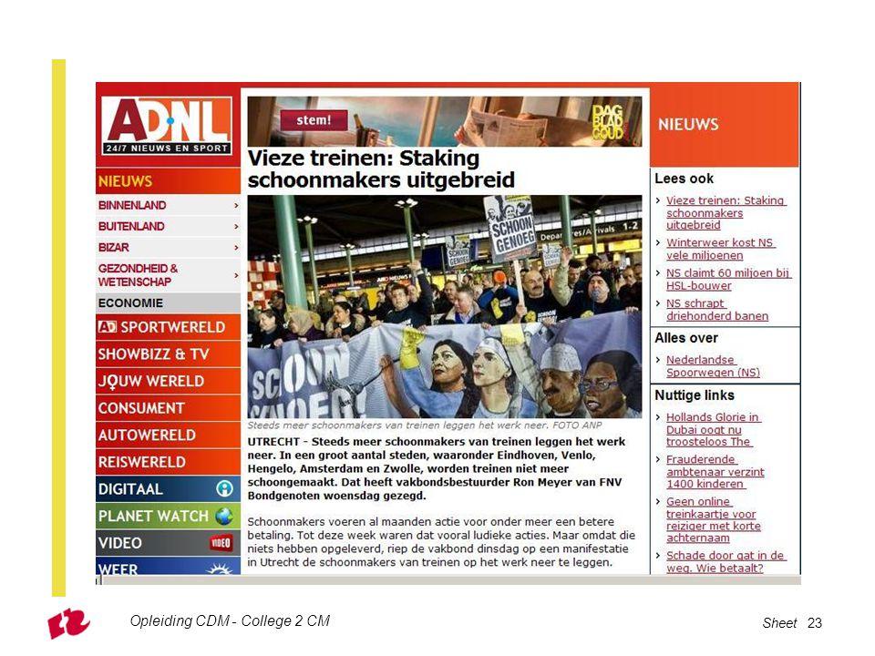 Opleiding CDM - College 2 CM