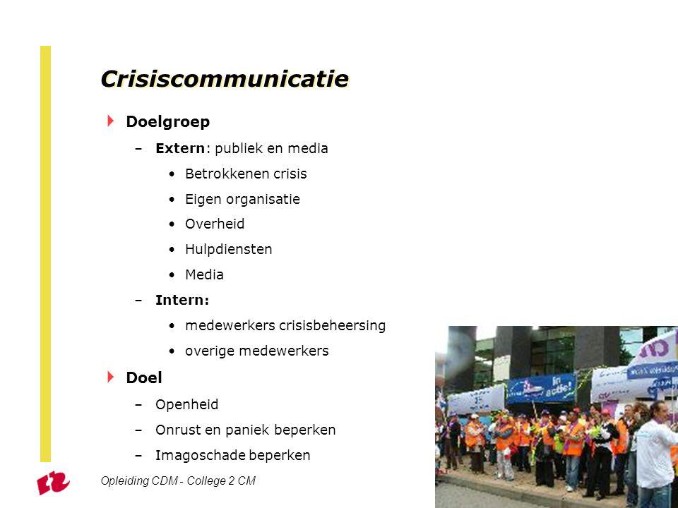 Crisiscommunicatie Doelgroep Doel Extern: publiek en media