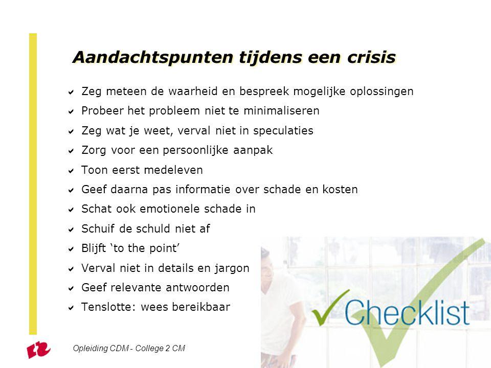 Aandachtspunten tijdens een crisis