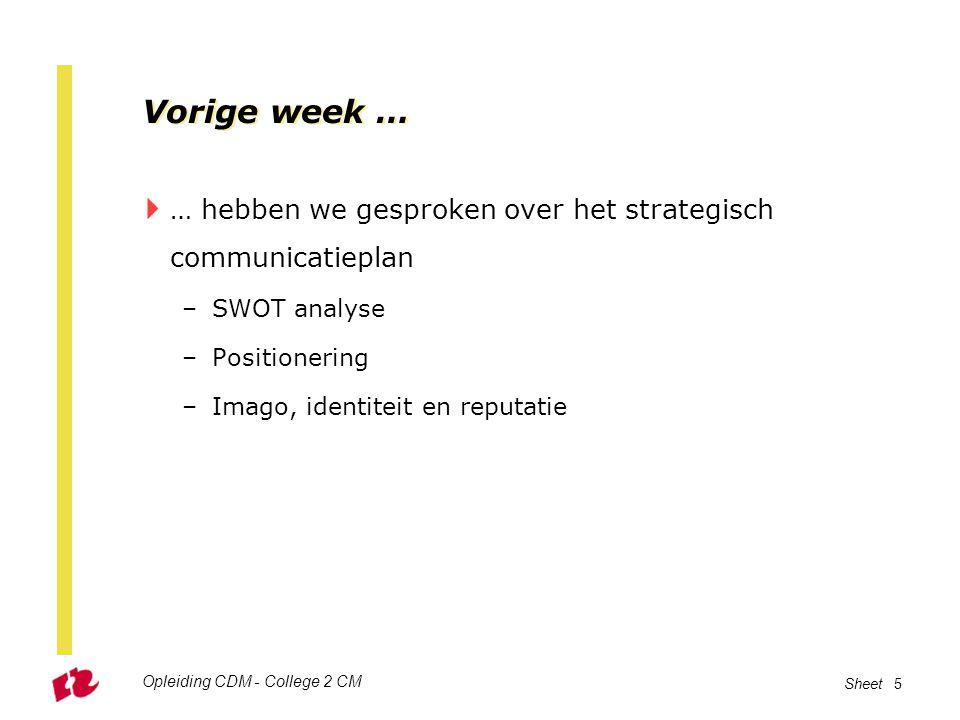 Vorige week … … hebben we gesproken over het strategisch communicatieplan. SWOT analyse. Positionering.