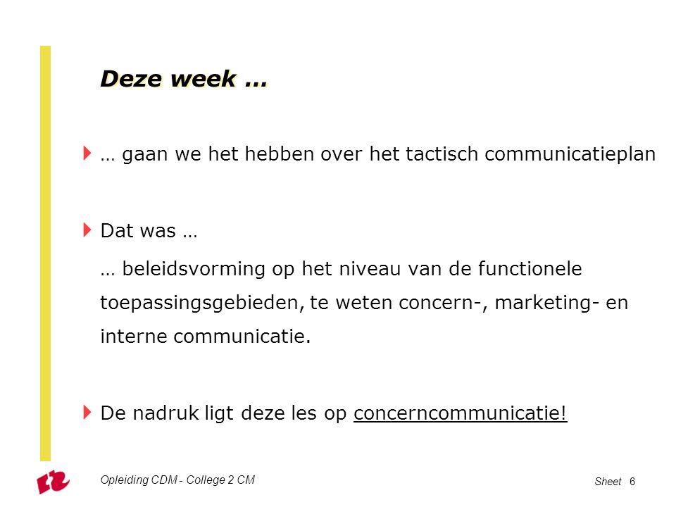 Deze week … … gaan we het hebben over het tactisch communicatieplan