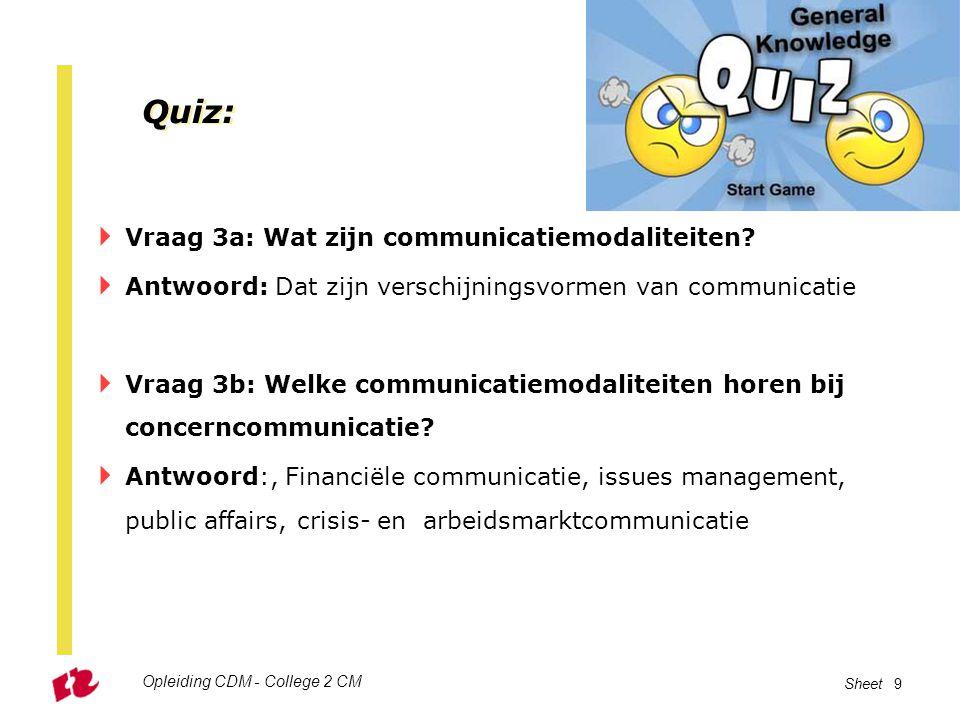 Quiz: Vraag 3a: Wat zijn communicatiemodaliteiten