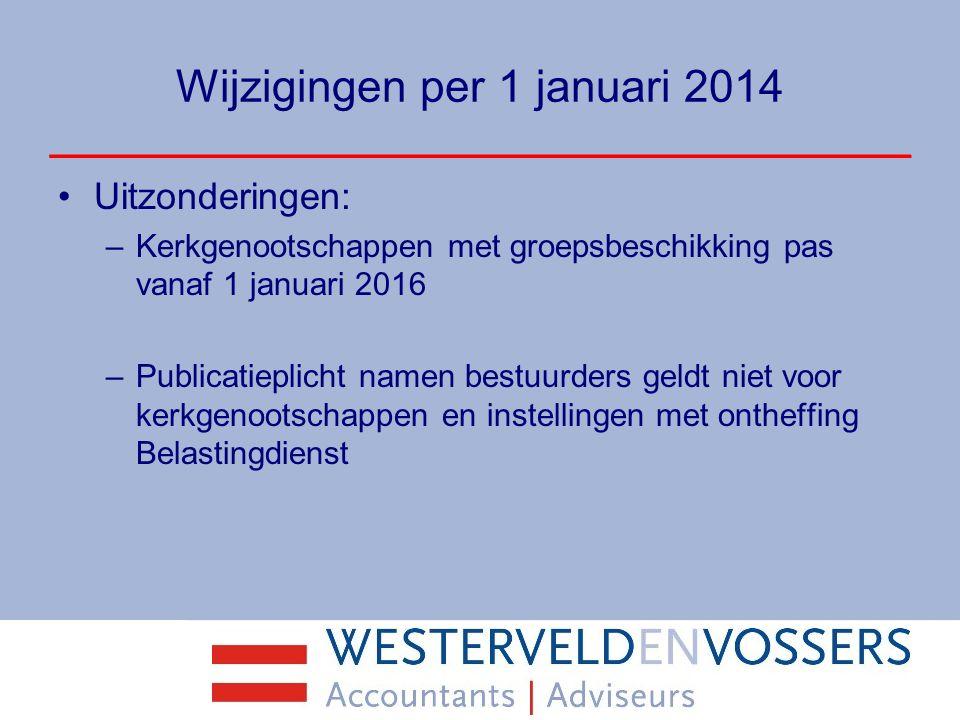 Wijzigingen per 1 januari 2014