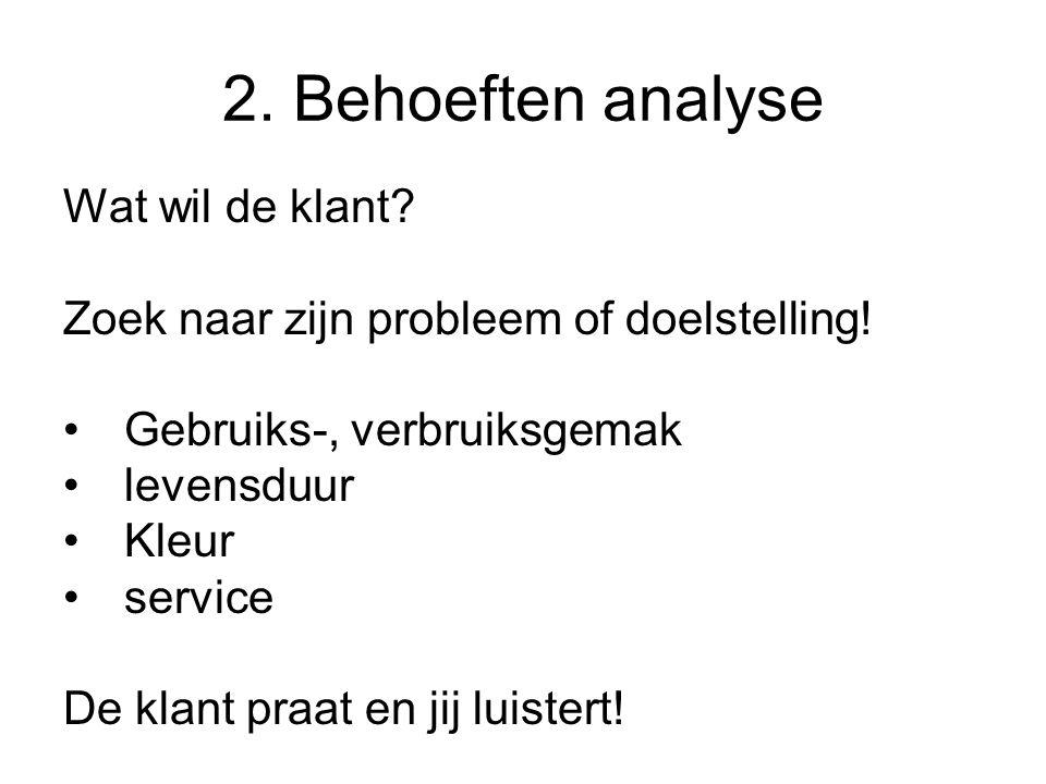 2. Behoeften analyse Wat wil de klant