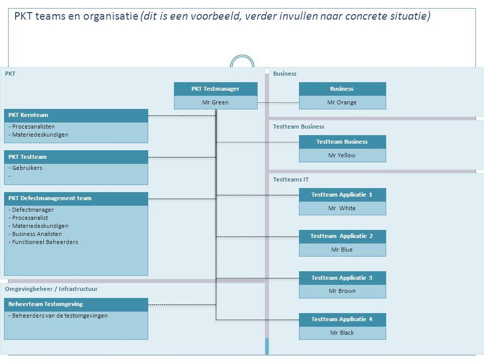 PKT teams en organisatie (dit is een voorbeeld, verder invullen naar concrete situatie)