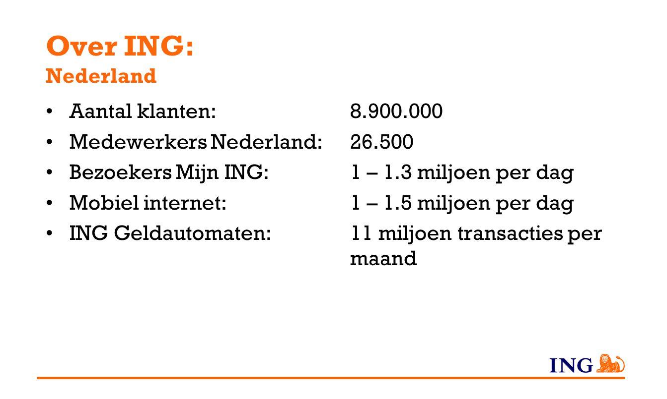 Over ING: Nederland Aantal klanten: 8.900.000