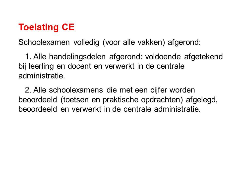 Toelating CE Schoolexamen volledig (voor alle vakken) afgerond: