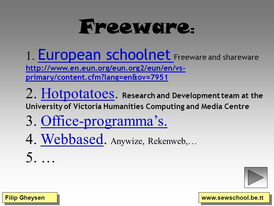 Freeware: 1. European schoolnet Freeware and shareware http://www.en.eun.org/eun.org2/eun/en/vs-primary/content.cfm lang=en&ov=7951.