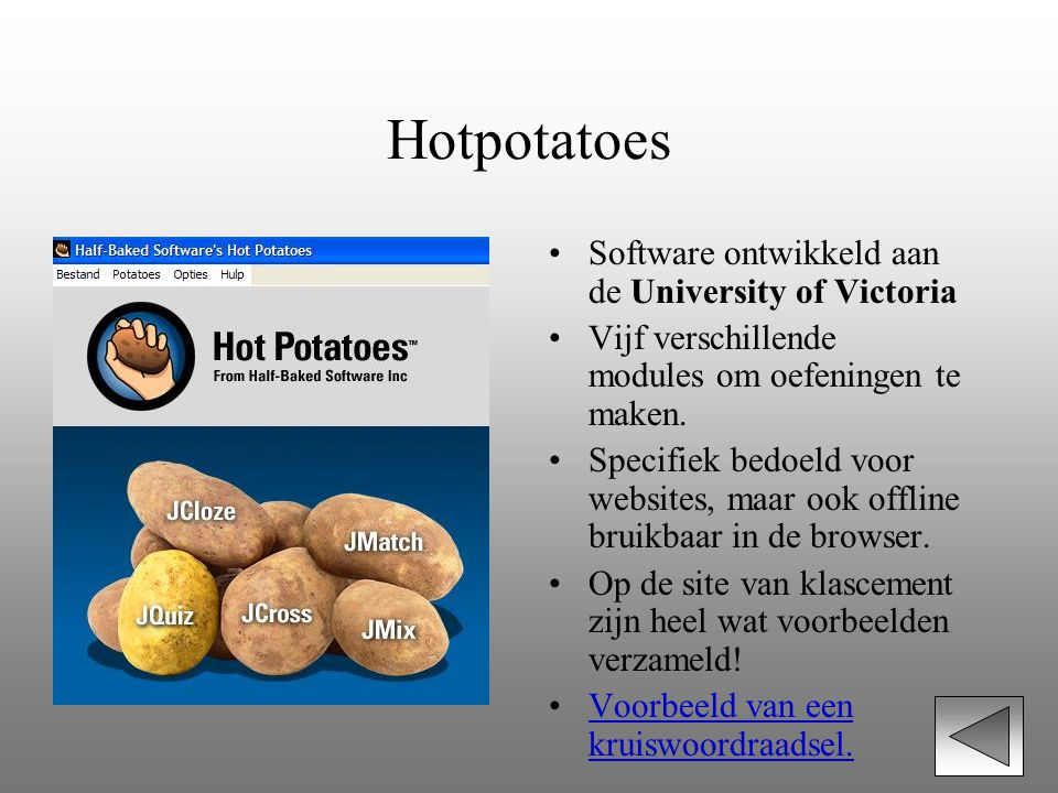 Hotpotatoes Software ontwikkeld aan de University of Victoria