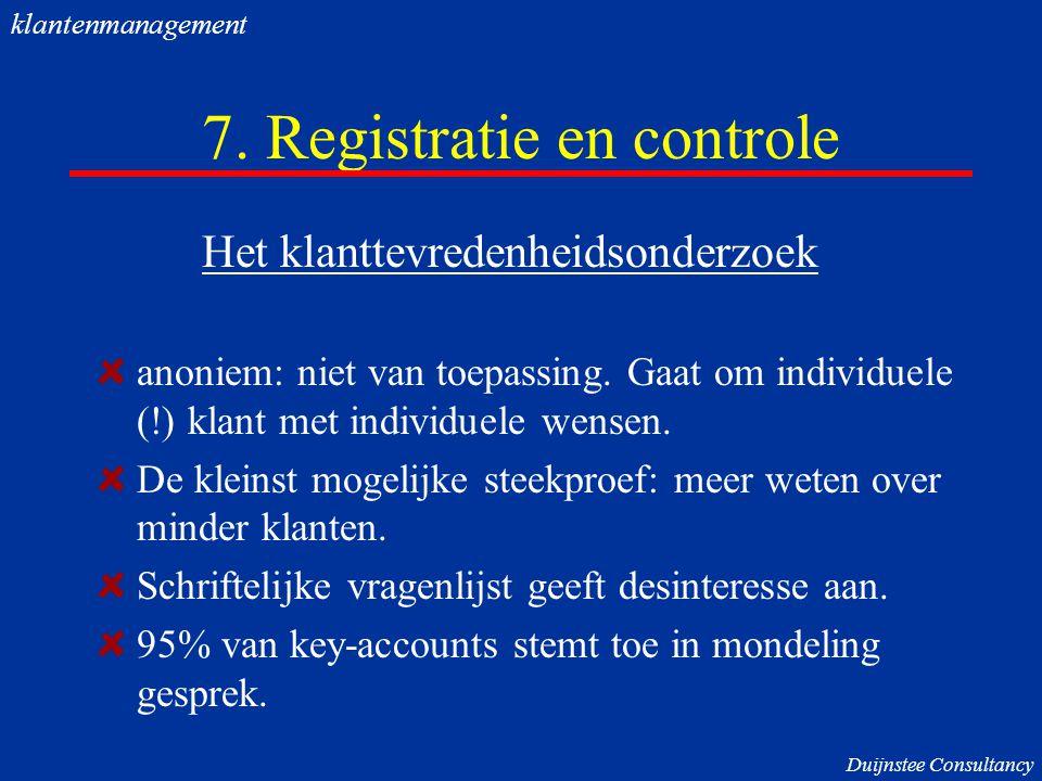 7. Registratie en controle
