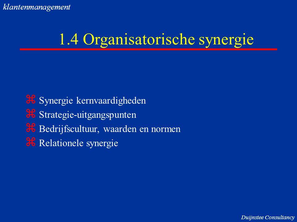 1.4 Organisatorische synergie