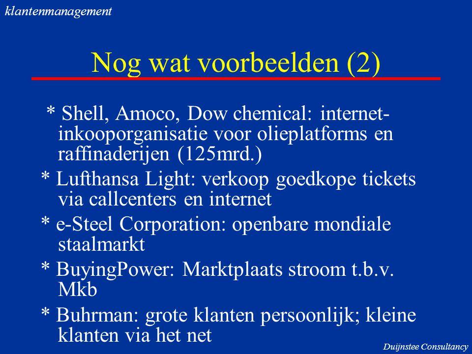 klantenmanagement Nog wat voorbeelden (2) * Shell, Amoco, Dow chemical: internet-inkooporganisatie voor olieplatforms en raffinaderijen (125mrd.)