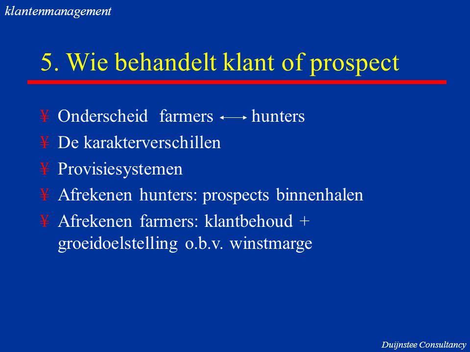 5. Wie behandelt klant of prospect