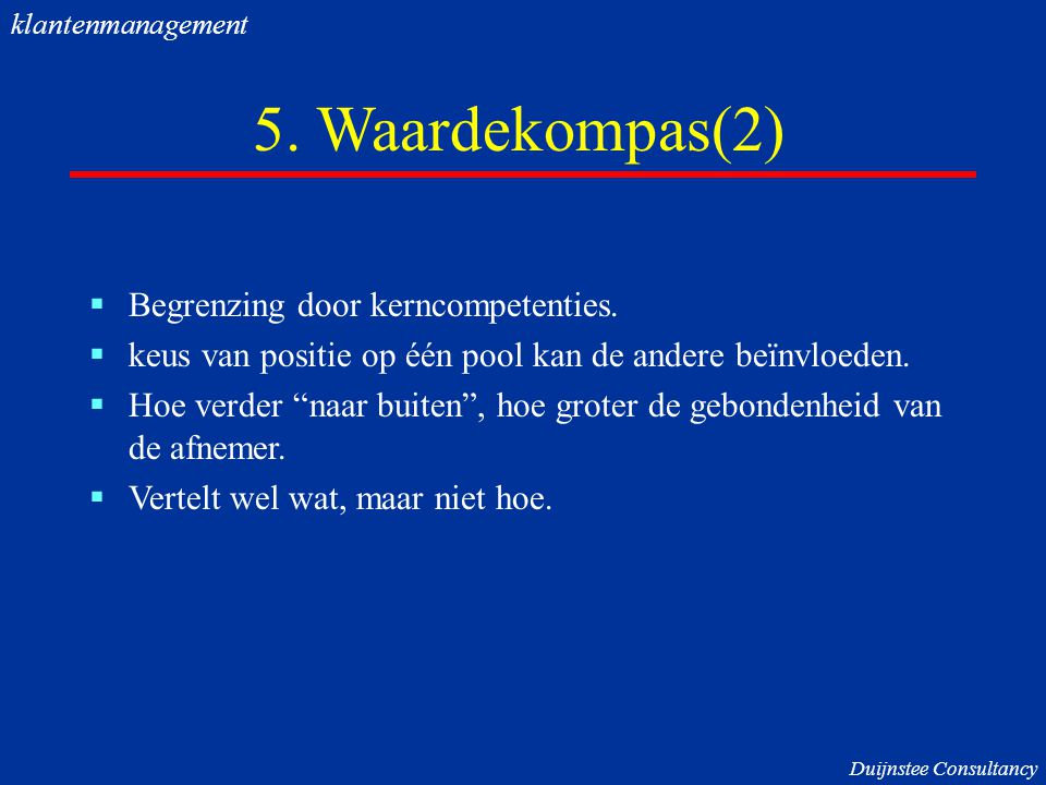 5. Waardekompas(2) Begrenzing door kerncompetenties.