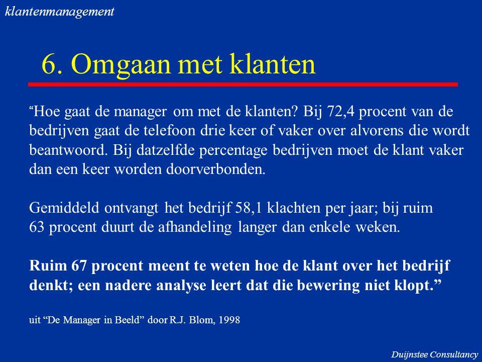 klantenmanagement 6. Omgaan met klanten. Hoe gaat de manager om met de klanten Bij 72,4 procent van de.
