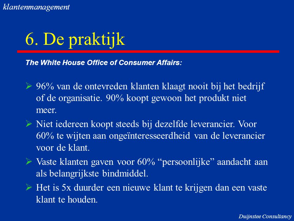 klantenmanagement 6. De praktijk. The White House Office of Consumer Affairs: