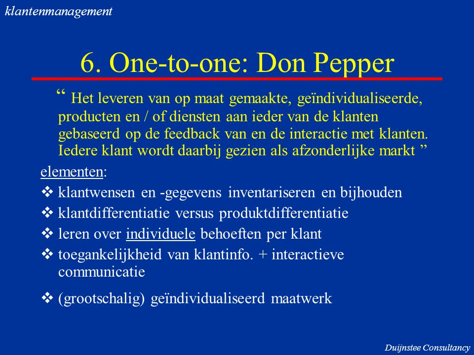 6. One-to-one: Don Pepper