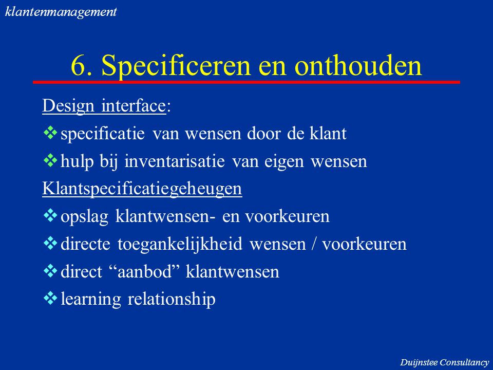 6. Specificeren en onthouden
